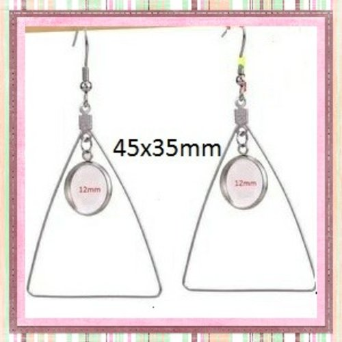 Boucle d'oreille pendante triangle acier inoxydable cabochon 12mm