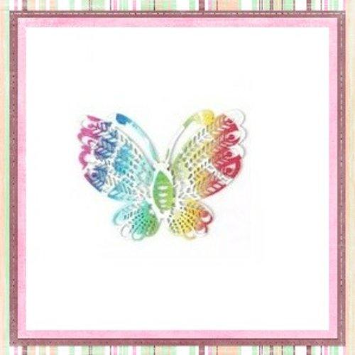 Breloque filigrane papillon colorée 49mm