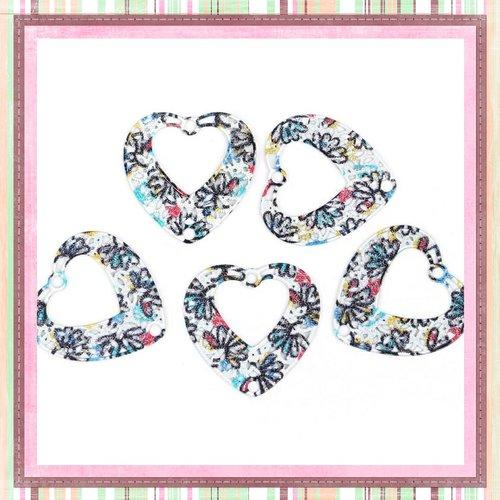 X2 breloques filigranes peint coeur colorées 23mm