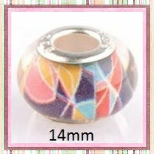 Perle colorée gros trou en acrylique et argent 925
