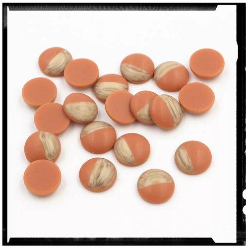X2 cabochons grain de bois givré orange 12mm