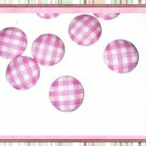 X2 cabochons dômes tissu à carreaux rose et blanc 12mm