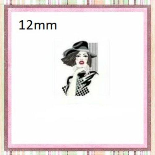 X2 cabochons carrés visage femme  en verre 12mm