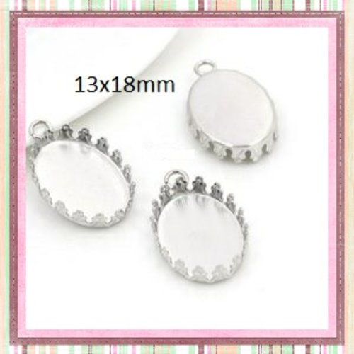 X2 pendentifs oval argentés 13x18mm