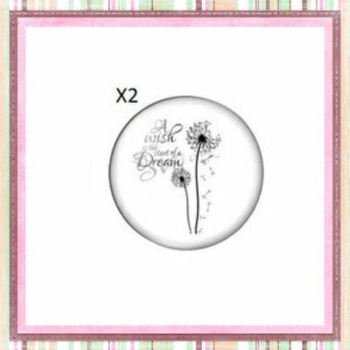 X2 cabochons pissenlit 12mm