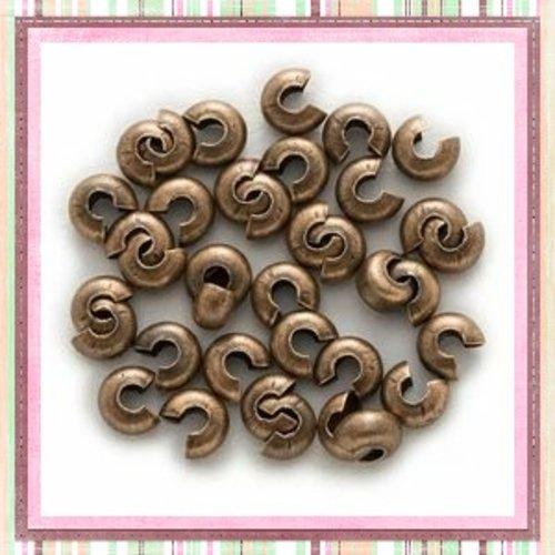 X20  caches perles à écraser bronze 3mm