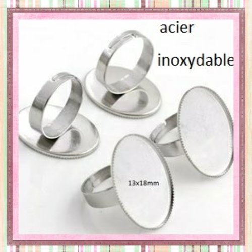 X2 supports bague ovale acier inoxydable 13x18mm