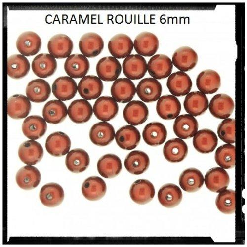 X20 perles magiques caramel rouille 6mm