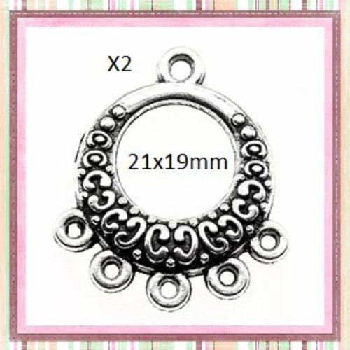 X2 boucles d'oreilles connecteur argentées 21x19mm