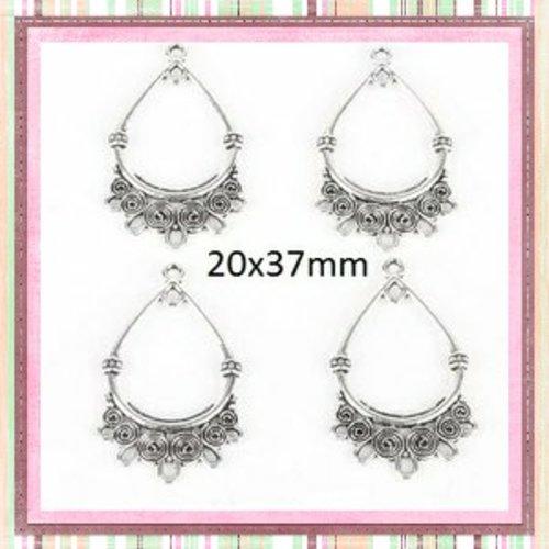 X2 boucles d'oreilles connecteur argentées 37x20mm