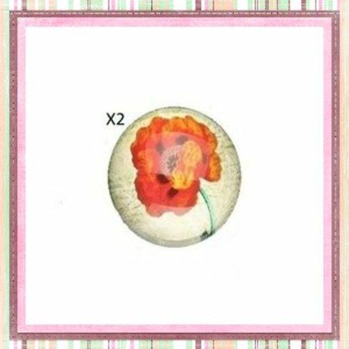 X2 cabochons fleur pavot, coquelicot rouge 12mm
