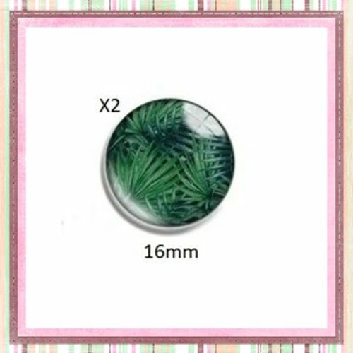X2 cabochons feuille tropicale 16mm