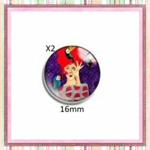 X2 cabochons femme 16mm