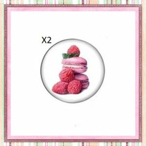 X2 cabochons duo de macaron à la framboise 12mm