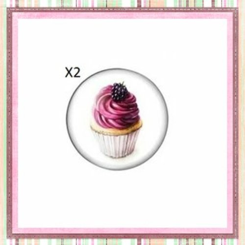 X2 cabochons cupcake fruit rouge 12mm