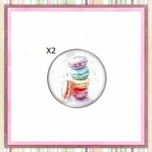 X2 cabochons pile de macarons 12mm