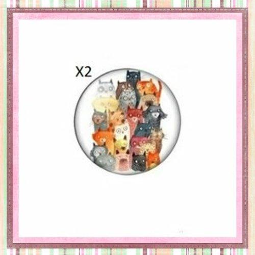 X2 cabochons foule de chats 12mm