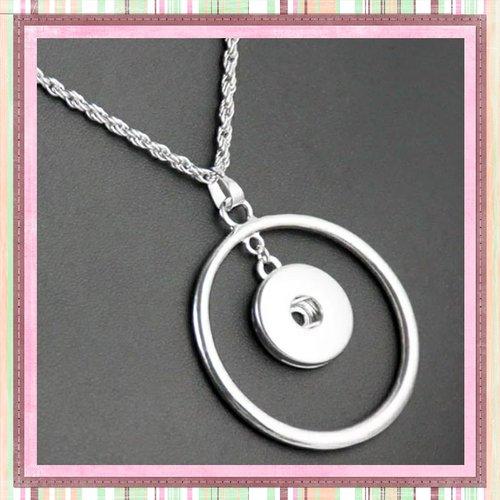 Collier pendentif cercle pour bouton pression