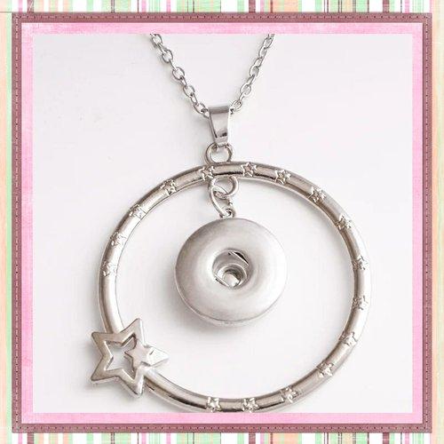 Collier pendentif cercle étoilé pour bouton pression