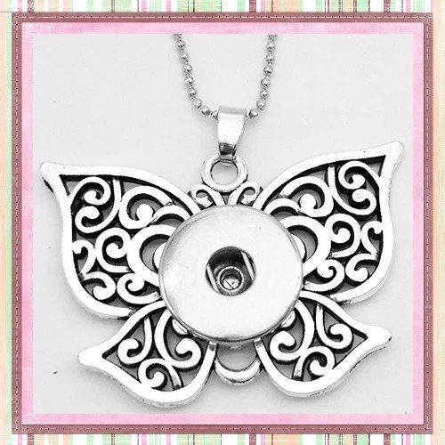 Collier pendentif papillon  pour bouton pression
