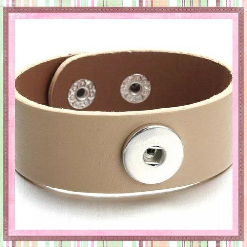 Bracelet simili cuir camel pour bouton pression