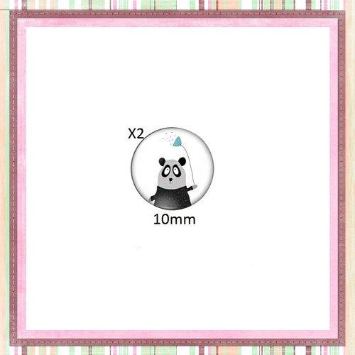 X2 cabochons panda gris-noir 10mm