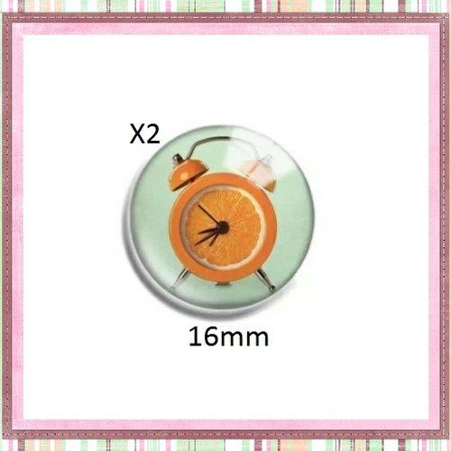 X2 cabochons réveil en orange 16mm