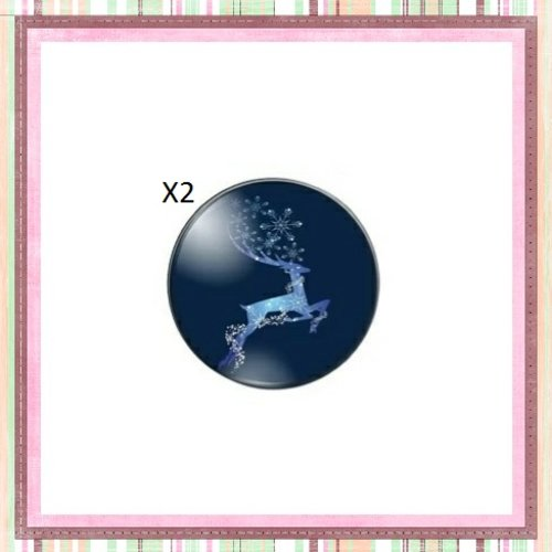X2 cabochons cerf 12mm