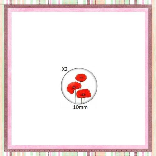 X2 cabochons fleurs rouges 10mm