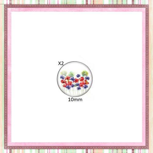 X2 cabochons fleuris 10mm