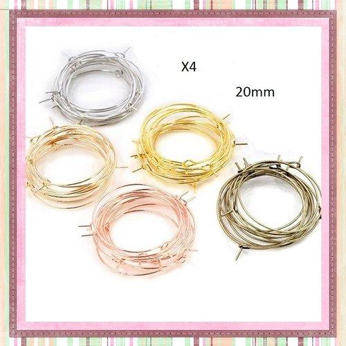 X4 créoles anneaux 20mm