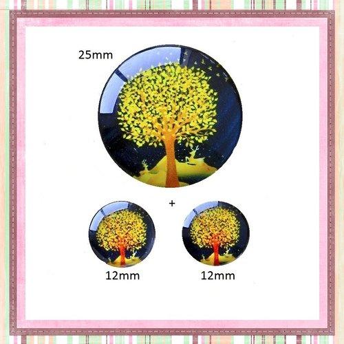 Lot cabochon arbre de vie 25mm et 2 cabochons 12mm