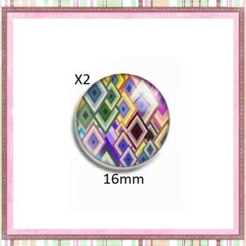 X2 cabochons colorés 16mm