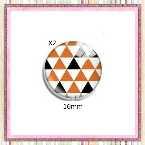 X2 cabochons motif géomètrique orange, blanc et noir 16mm