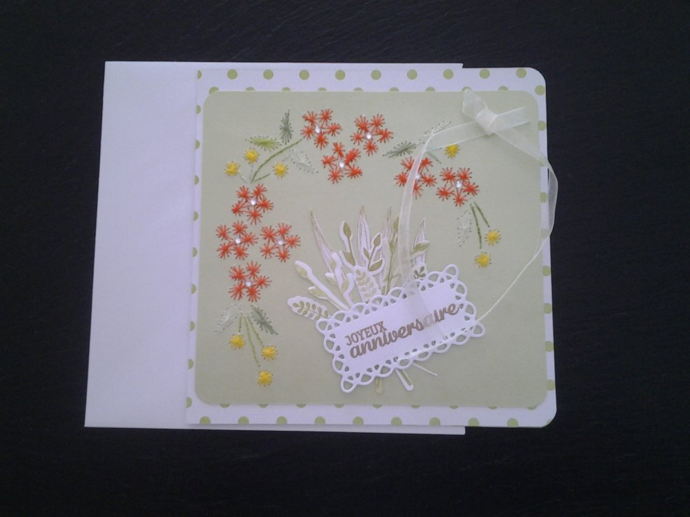 Carte anniversaire brodée main