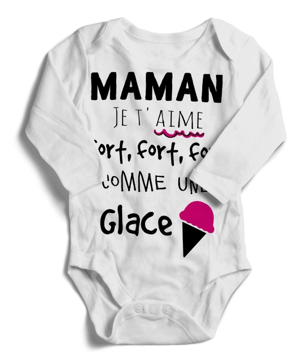 Body bébé J aime AS MONACO Comme Maman Manche Courte ou Longue
