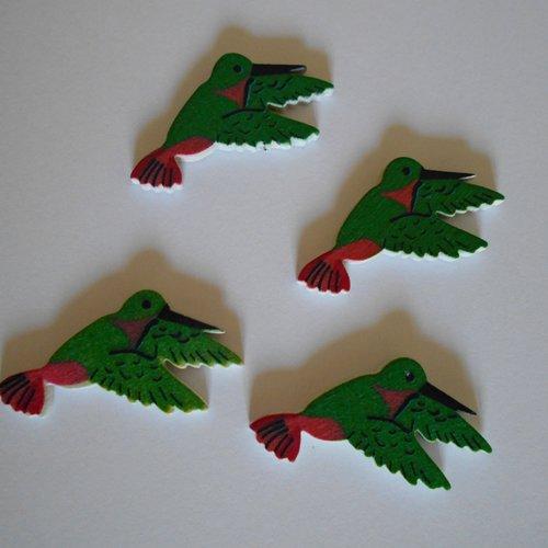 """Lot de 4 stickers - autocollants en bois """"oiseaux"""" verts et rouges / scrapbooking - embellissements"""
