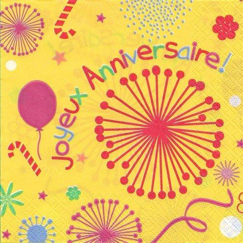 """Lot de 3 serviettes en papier + 1 offerte / """"joyeux anniversaire"""" / 33 cm x 33 cm / scrapbooking - serviettage"""