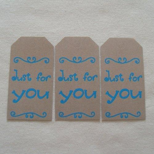 """Lot de 3 étiquettes - tags en papier kraft """"just for you"""" / scrapbooking - anniversaire"""