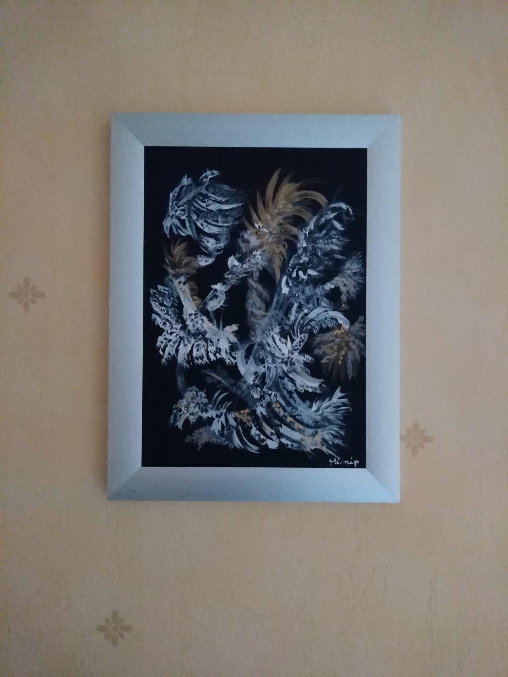 Peinture acrylique, abstraite, intuitive, les deux lions