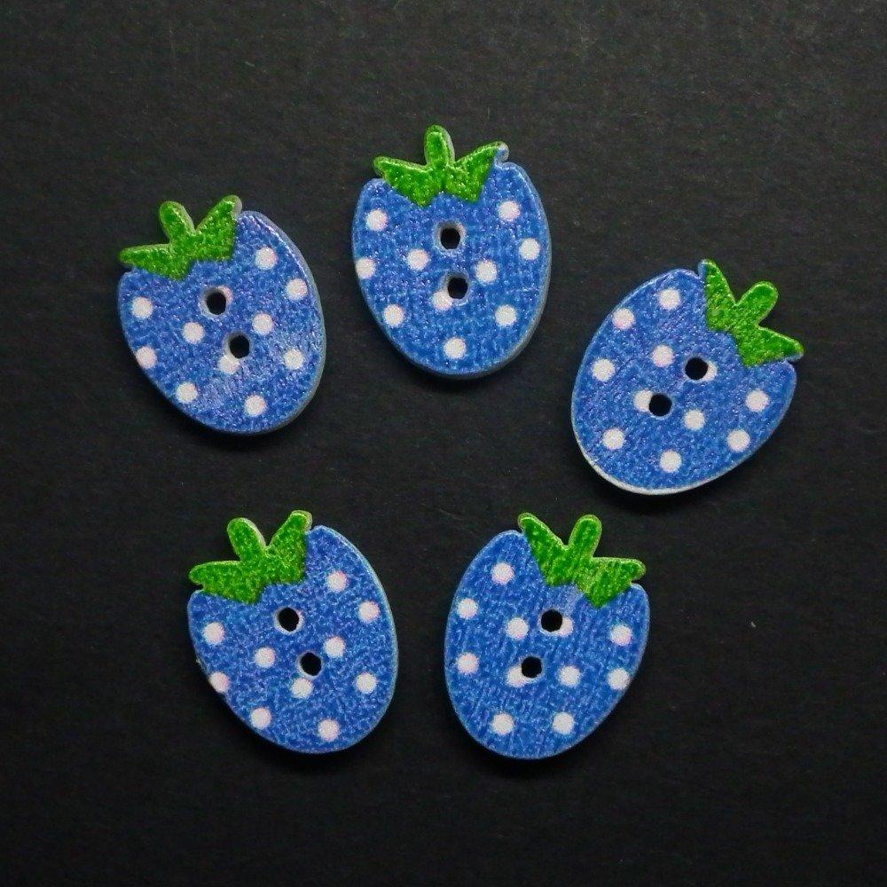 5 boutons fraises bleu