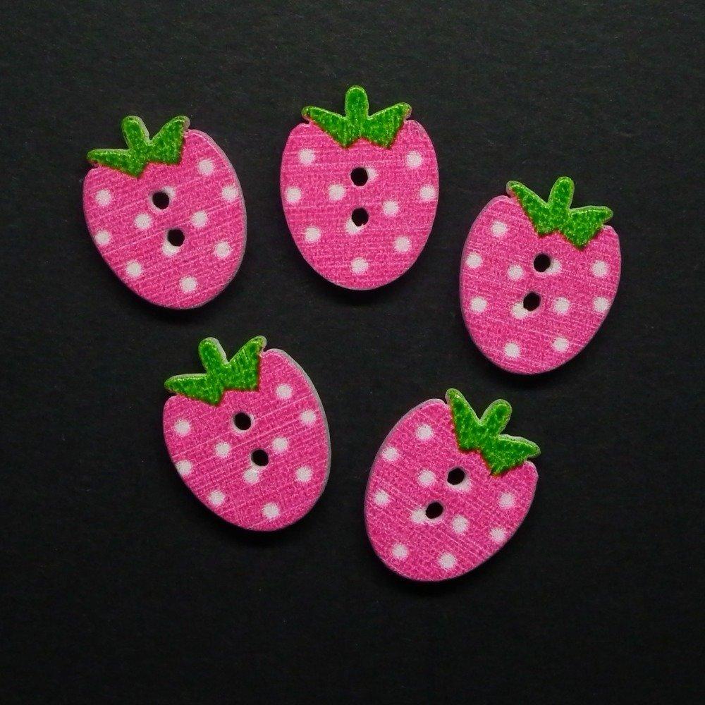5 boutons fraises rose foncé