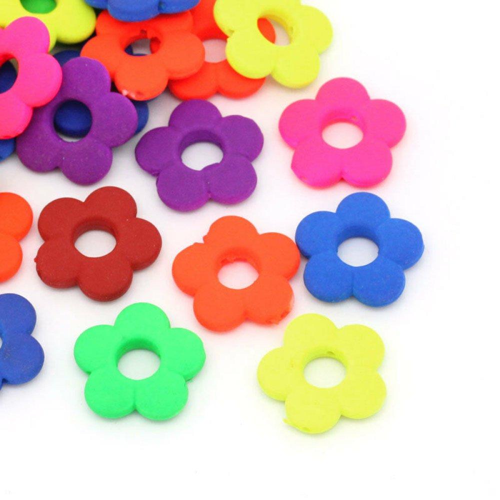 50 Mixte Perles intercalaire Acrylique Fleur 20 x 20 mm