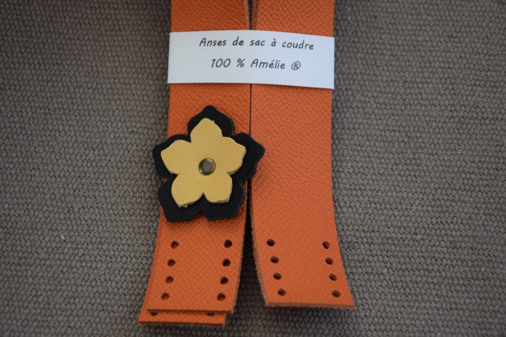 Anses de sac à coudre en cuir orange et fleur noire et jaune - Fait main