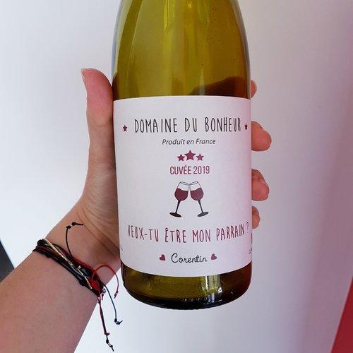 Etiquette De Vin Pour Bouteille Veux Tu Etre Mon Parrain Personnalisable