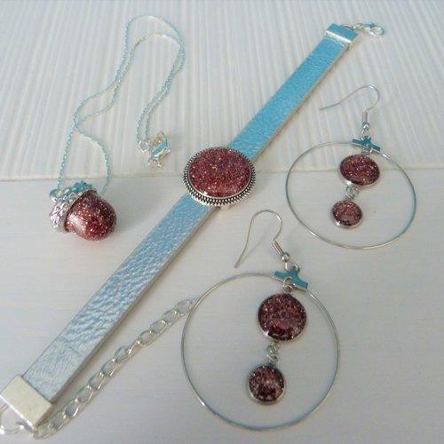 Parure : bracelet + pendentif + boucles d'oreilles cabochon avec resine