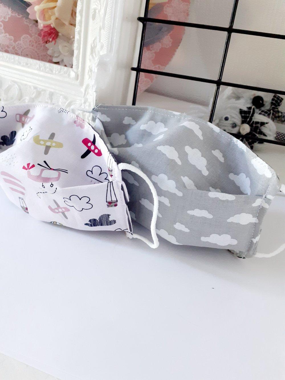 Lot 2 masque tissu lavable enfant