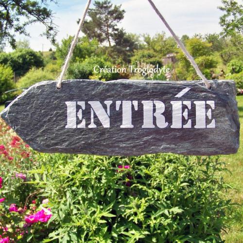 """Panneau,pancarte,ardoise décorative flèche """"entrée"""",décoration de jardin,décoration terrasse,création troglodyte,"""