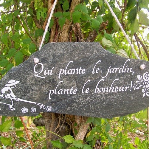 Ardoise décorative-panneau-pancarte-décoration de jardin-citation- jardin  romantique,décoration balcon,création troglodyte,