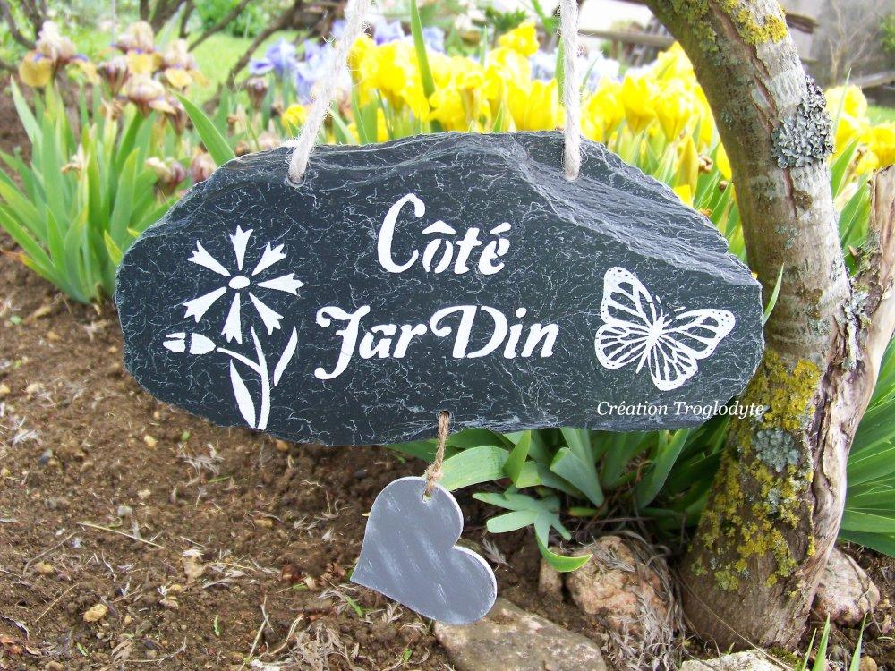 Décoration de jardin en ardoise,aménagement extérieur,pancarte de jardin  ,pancarte, tuile,création troglodyte,